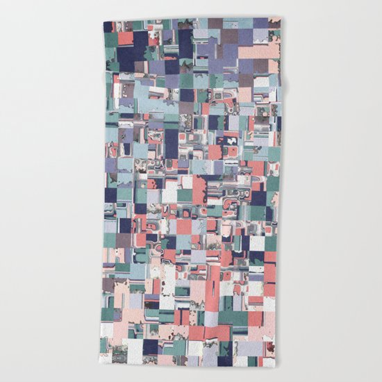 Colorful Abstract Geometric Mosaic Beach Towel