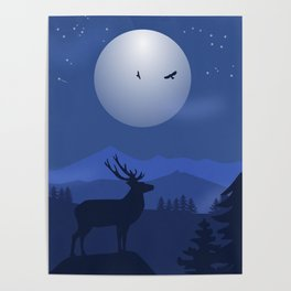 Mystical Night in the Mountains Poster
