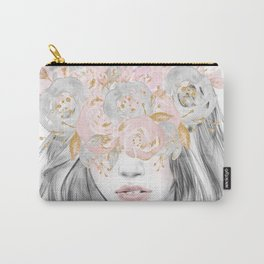 She Wore Flowers in Her Hair Rose Gold by Nature Magick Carry-All Pouch