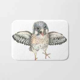 Cranky Kestrel Bird Illustration Bath Mat