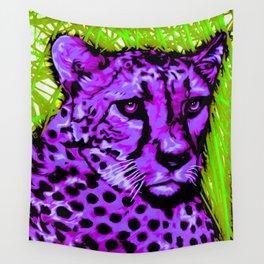 Black light purple Cheetah Wall Tapestry