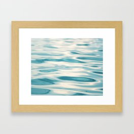 Water Ripple Ocean Photography, Sea Ripples Aqua Blue, Turquoise Teal Beach Abstract Seascape Nature Framed Art Print