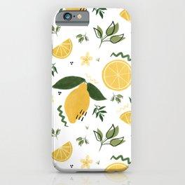Whimsical Repeat Lemon Print Illustration iPhone Case