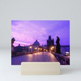 Historic Charles Bridge In Prague Czech Republic Purple Shade Ultra HD Mini Art Print