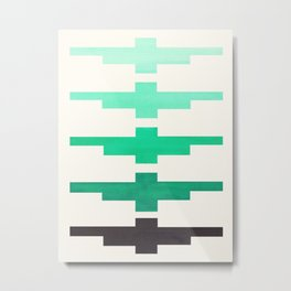 Mid Century Minimalist Ancient Aztec Inca Geometric Pattern Watercolor Teal Turquoise Colorful Gouac Metal Print