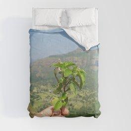 Mountaintop Green Landscape Comforters
