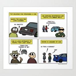 """""""Debadge"""" - Stuck in Reverse comic Art Print"""