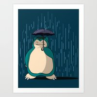 snorlax Art Prints featuring My Neighbor Snorlax by EnoLa