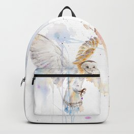 "Watercolor Painting of Picture ""White Owl"" Backpack"