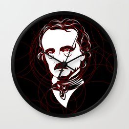 Edgar Allan Poe Circles Portrait Wall Clock