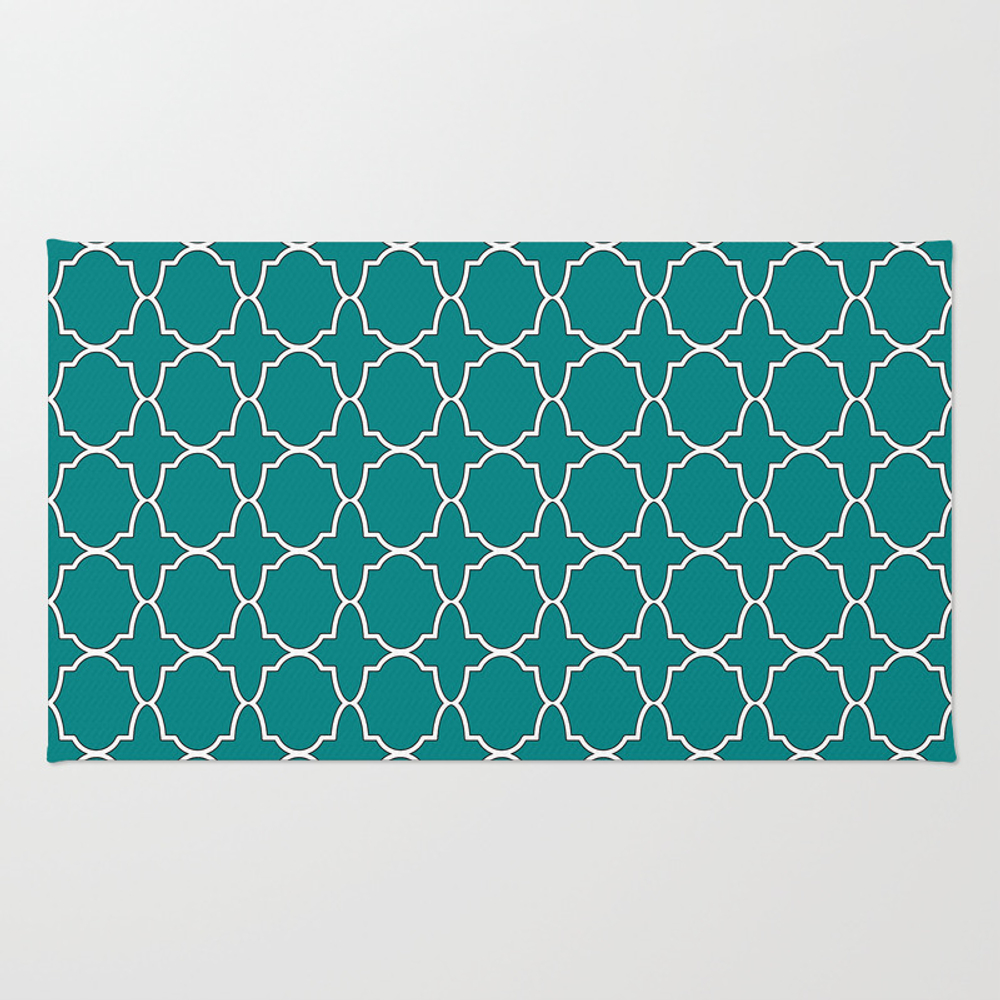 Teal Green Quatrefoil Pattern Rug by Skylinesquirrel RUG8263296