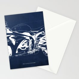 Motorcycle blueprint, 2012 Suzuki GSX-R1000, gift for men, valentine, plano de motocicleta Stationery Cards