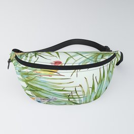 Birds on the leaves of the jungle Fanny Pack