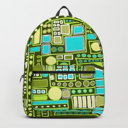 Mid-Century Modern Maze ~ Aqua & Forest Backpack