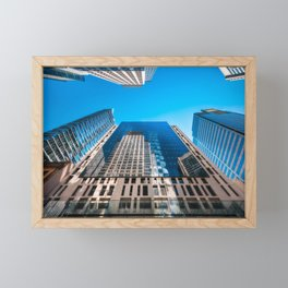 Looking up from George street at major City Towers in Sydney Framed Mini Art Print
