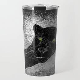 Black panther on a branch - Grey Travel Mug