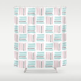 Stripes×Checkered Pattern_Mint Green&Pink&Gray Shower Curtain