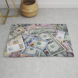 A collection of various foreign currencies Rug