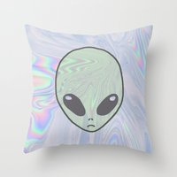 pastel goth Throw Pillows featuring Alien Pastel by Hipster's Wonderland