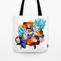 dbz Tote Bags featuring DBZ - Vegeta & Goku SSJ God II by Mr. Stonebanks