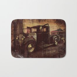 Antique Black Truck with Weathered Look Bath Mat