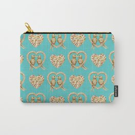 Tiffany Blue Valentines Love Hearts , love, birds Carry-All Pouch