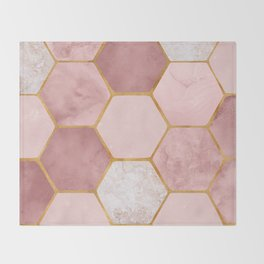 Pink and Gold Hexagon Print Throw Blanket
