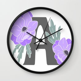 Letter A Floral Monogram Wall Clock