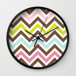 Zigzag Pattern, Chevron Pattern - Green Pink Blue  Wall Clock