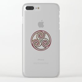 St. Patrick's Day Celtic Red Mandala #5 Clear iPhone Case