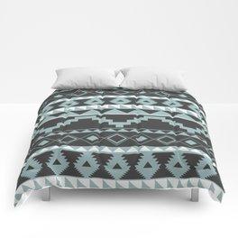 Aztec Pattern 2 Gray & Teal Comforters