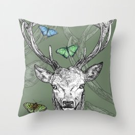 Scottish Stag, butterflies, pen and ink illustration, moss green Throw Pillow