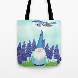 gnome with cerulean warbler and grape hyacinths Tote Bag