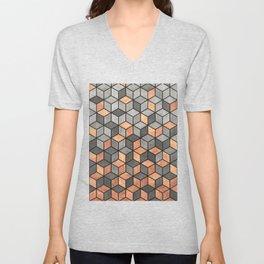 Concrete and Copper Cubes Unisex V-Neck