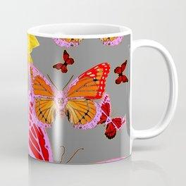 YELLOW SUNFLOWERS & MORPHING LILAC PURPLE MONARCH BUTTERFLIES Coffee Mug