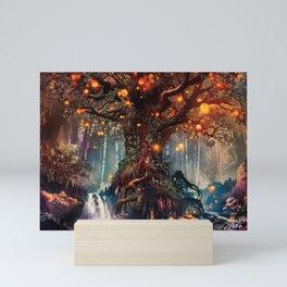 Magnificent Big Marvelous Magic Glowing Fairytale Forest Tree Light Bulbs Dreamland Ultra HD Mini Art Print