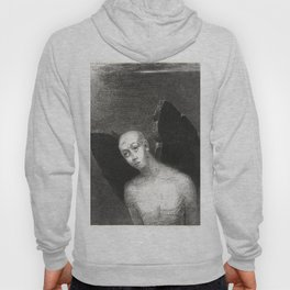 French painter Odilon Redon, Fallen Angel Spreads His Black Wings. Fine art for art lovers. Hoody