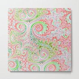 Pastel Pink and Grin Fern Swirls Metal Print