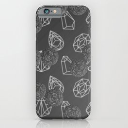 Gray Diamonds Bling Crystals iPhone Case