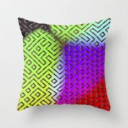 Rainbow Labyrinth Throw Pillow