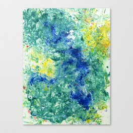 Spring Floral #8 - Blue, Emerald Green Abstract Print Canvas Print