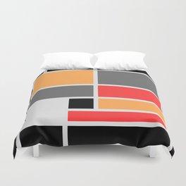 Mondrianista orange red black and gray Duvet Cover