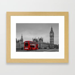 Black and White London with Red Bus Framed Art Print