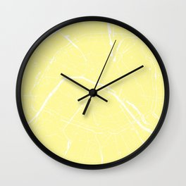 Paris France Minimal Street Map - Yellow on White Wall Clock