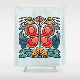 Butterfly tile Shower Curtain