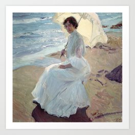 Clotilde on the Beach - Joaquín Sorolla Art Print