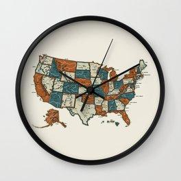 USA Vintage Map Wall Clock