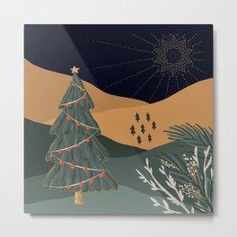 Holy Night - Mid Century  - Christmas Metal Print