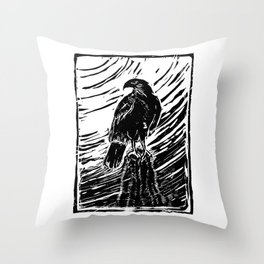 Harris Hawk Woodcut Throw Pillow