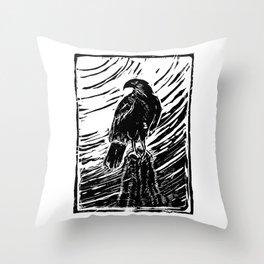 Harris Hawk Woodcut Throw Pillow